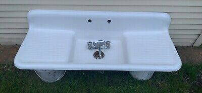 Vintage Cast Iron Farmhouse Sink - 60 Inch, Double Washboard + Faucet