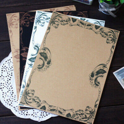 16pcs Retro Writing Stationery Paper 4 Styles Vintage Flower Kraft Letter Paper