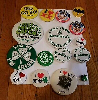 LOT OF (8) ST. PATRICK'S DAY / IRISH PINBACK BUTTONS + 8 Misc..