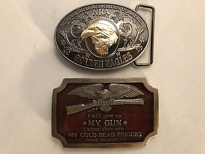 2 Belt Buckles Second Amendment Guns Firearms Eagle Rifle Patriotic Vintage  NRA