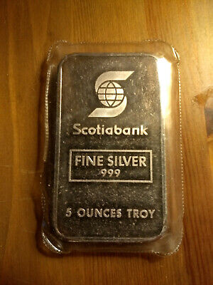 Johnson Matthey JM Scotiabank 999 Fine silver 5 oz ounces troy - Very Rare