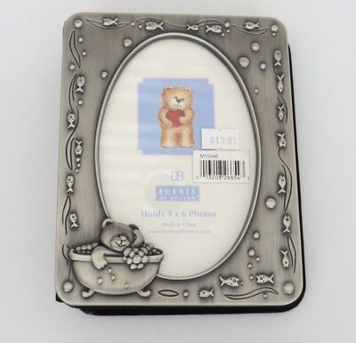 Burnes of Boston Baby Photo Album Brushed Pewter holds 60 4x6 pictures NEW HTF