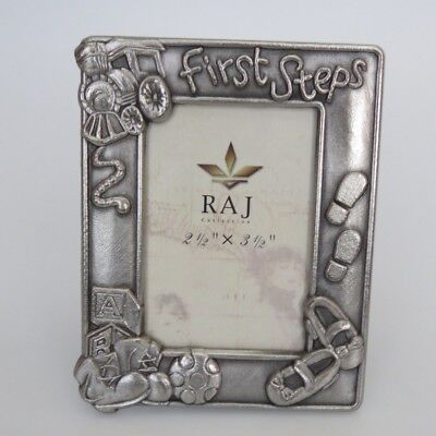 "First Steps Baby Photo / Picture Frame Silver Pewter by RAJ 2 1/2"" x 3 1/2"" NEW"