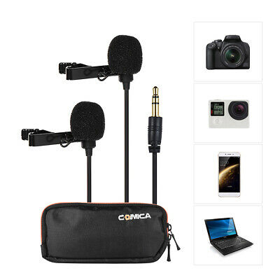 Comica CVM-D02 Dual-head Lavalier Lapel Microphone Clip-on Omnidirectional F9E1