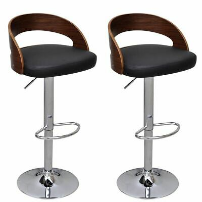 2x Height Adjustable Bar Stools With Bentwood Frame Dining Chairs Kitchen