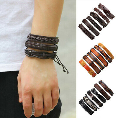 6Pcs Mens Punk Multilayer Leather Bracelet Wrap Braided Cuff Wristband Bangle