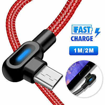 Double Bend 90° Right Angle Micro USB LED Fast Charging Data Cable for Android