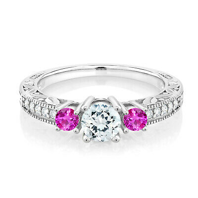 0.90 Ct Sky Blue Aquamarine Pink Sapphire 925 Sterling Silver 3-Stone Ring