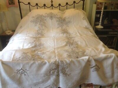 Vintage Large Cream  Linen Madeira Work Tablecloth
