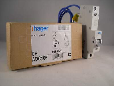 Hager RCBO 6 Amp 30mA Type C 6A 106755 C6 ADC Range ADC106 NEW