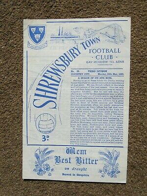 PROGRAMME SHREWSBURY TOWN v COVENTRY CITY DIV3 20.5. 1963 MINT CONDITION