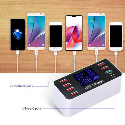8 Ports Fast USB Charger QC3.0 40W Smart Charging Station LCD Display 5V 8A