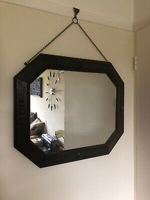 VINTAGE 1930s WOODEN OCTAGON SHAPED WALL HANGING MIRROR.