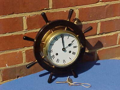 Large Vintage German Schatz Ships Wheel Marine 8 Bells Clock