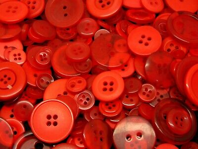 100g Red Mixed Size & Shape Acrylic Buttons Assorted Arts & Craft Kids - O155