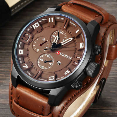 Curren Army Military Quartz Mens Watches Leather Boys Watch Casual Sport Watch