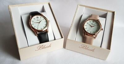 LADIES WATCH BLUSH COLLECTION Rose Gold Diamante Inset Case Letherette Straps