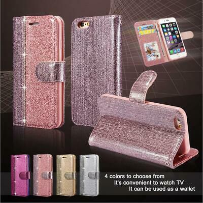 Luxury Leather Glitter Wallet Magnetic Flip Phone Case Cover For iPhone 6 7 8 XR