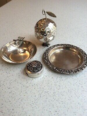 Sterling silver small dishes, pill box and pomegranate, nice group