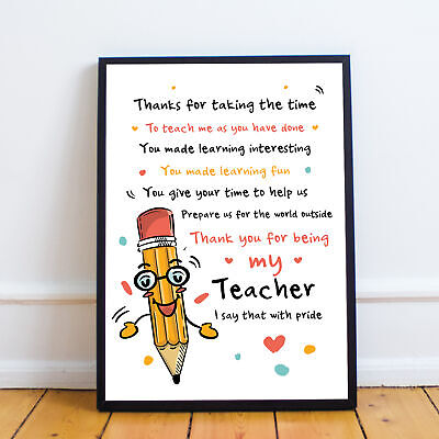 Teacher Gifts Thank You Present Best Teacher Poem Leaving School Nursery Gifts