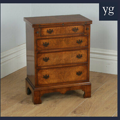 Small Georgian Style Burrr Walnt Chest of Drawers Writing Table Desk (c.1970)