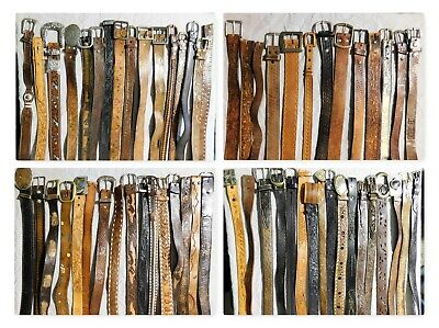 Lot Of 61 Hand Tooled Leather Western Rodeo Belts Vintage & Contemporary
