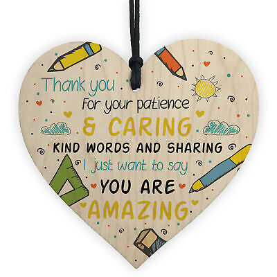 Gift For Teacher And Assistant Wooden Heart Nursery Thank You Gifts Leaving Gift
