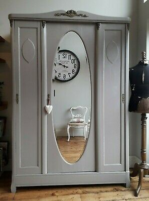 Antique painted French Armoire with brass detailing & mirror, knockdown wardrobe