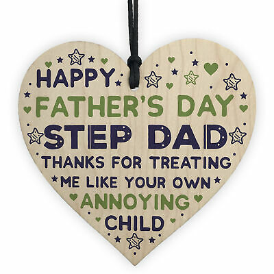 Step Dad Fathers Day Gifts Wooden Heart Funny Fathers Day
