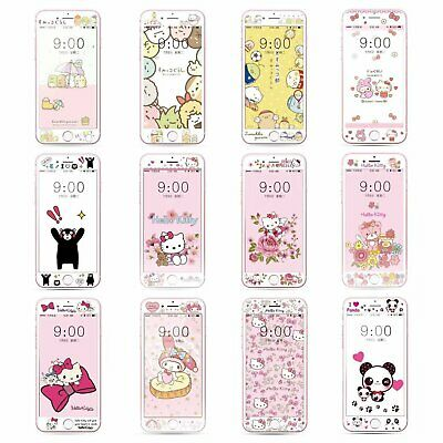 Cartoon Fiber Tempered Glass Screen Protector Film Case for iPhone 7 8 C0288