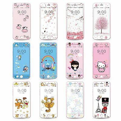 Cartoon Fiber Tempered Glass Screen Protector Film Case for iPhone 7 8 C0292