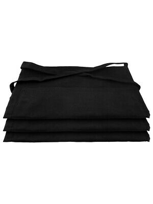 Aprons Plain Black Half Length Bar Barista With Front Pocket - Pack Of 3