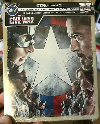 Captain America Civil War 4K UHD Blu-Ray Digital HD Steelbook Marvel Mcu