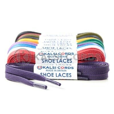 6mm FLAT WAXED COTTON SHOE LACES PREMIUM QUALITY FOR TRAINER BOOT SNEAKER SPORT
