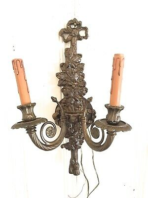 Vtg Antique Bronze Brass Carved Double Light Electric Wall Sconce Ribbon Bow