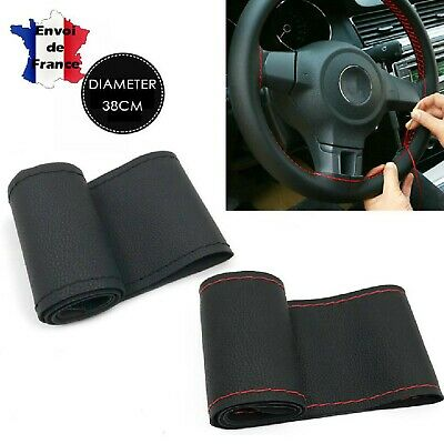 Couvre Volant voiture pose facile housse PU Fil Noir Car steering wheel cover