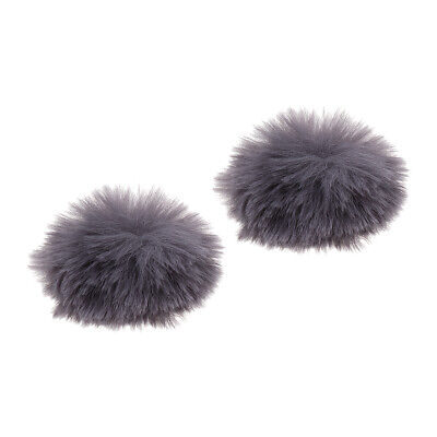 2x Gray Outdoor Microphone Furry Windscreen Cover Windshield Muff Mic Parts