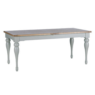 Malvern Medium Grey Painted Oak Extending Dining Table ex Willis & Gambier stock