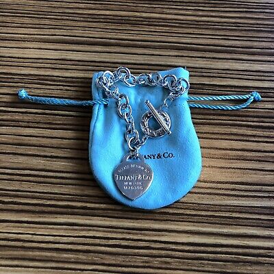"""Tiffany & Co. Sterling Silver Heart Tag Toggle Bracelet 8"""" - Pouch"""