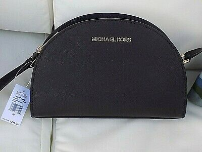 45a0963c264b Authentic MICHAEL KORS MK JET SET HALF MOON CROSS-BODY BLACK Leather w/ Gold