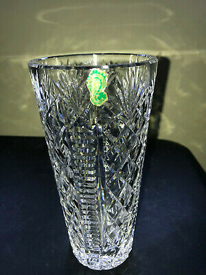 """Waterford Crystal 8"""" Tall Cylindrical Diamond Pattern Floral Vase FINE LUXURY!"""