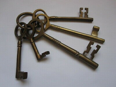 bunch of 5 large brass decorative keys - gothic church castle dungeon prop