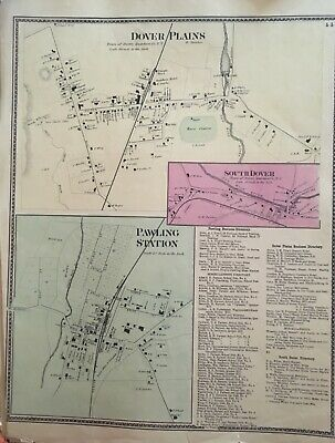 Town of Dover Plains, New York Antique Original Map Beers, Ellis, Soule 1867