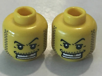 2 X LEGO 3626 Minifigur Kopf Grau, Light Grau Kopf Hollow Stud NEU New