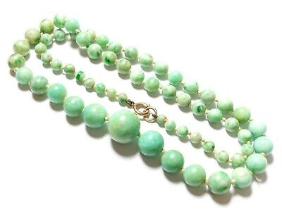 Beautiful Antique Victorian Or Edwardian Chinese Jade Necklace 9Ct Gold Clasp