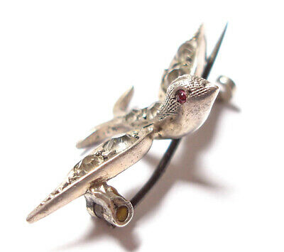 Beautiful Small Antique Victorian Or Edwardian Silver & Paste Stone Bird Brooch