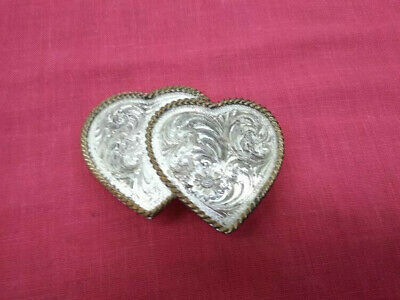Vintage Montana Silversmiths Double Heart Belt Buckle Sterling Silver Plated