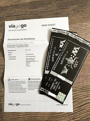 2x Wacken Open Air All In Ticket 2019 W:O:A..