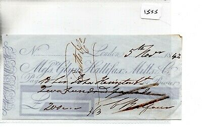 CHEQUE - CH1555- USED -1842 - Messrs Glyn Hallifax, Mills & Co. London