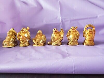 """6 Different Gold Colored Resin Happy Laughing Chinese Buddah Figurine Statues 2"""""""